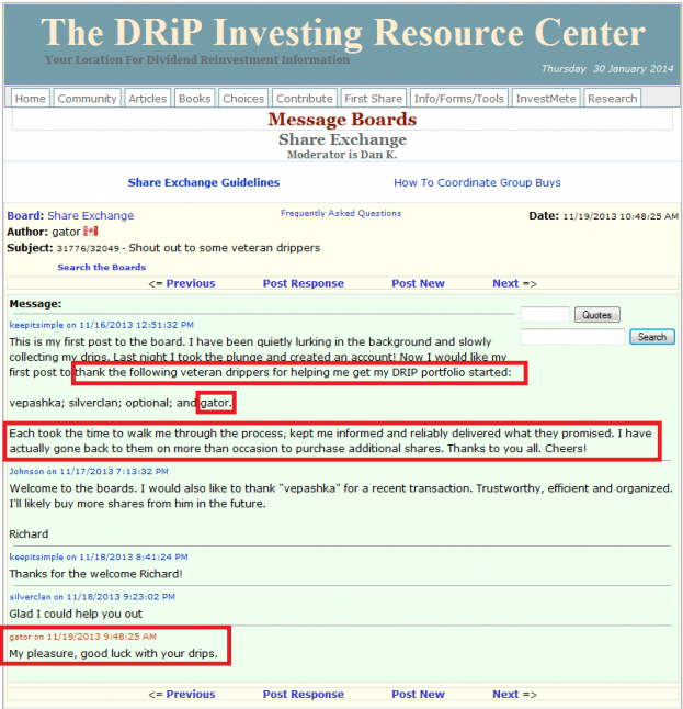 15 - How to buy a share on the DRIP Investing Resource Center's share exchange
