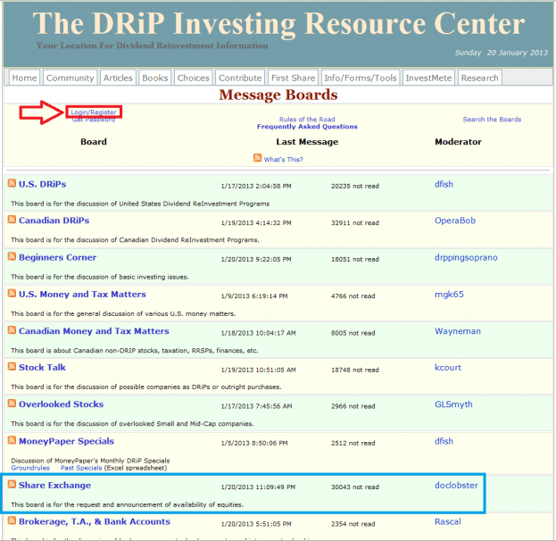 2 - How to buy a share on the DRIP Investing Resource Center's share exchange