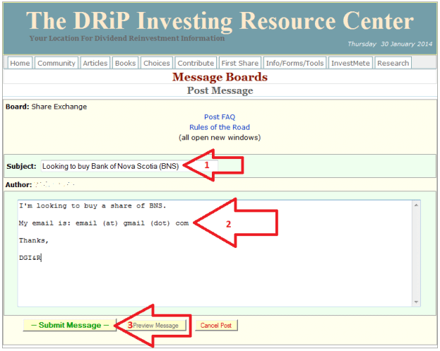 20 - How to buy a share on the DRIP Investing Resource Center's share exchange