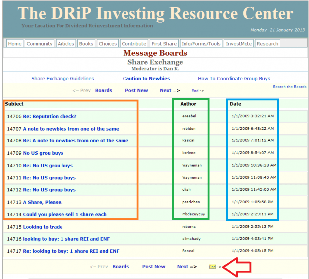 8 - How to buy a share on the DRIP Investing Resource Center's share exchange