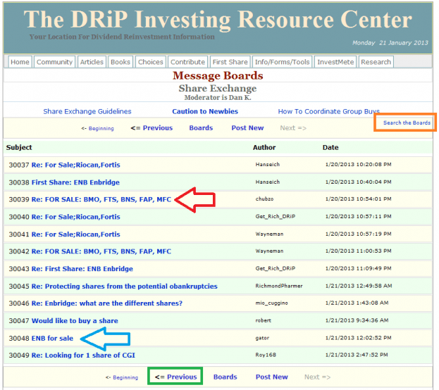 9 - How to buy a share on the DRIP Investing Resource Center's share exchange